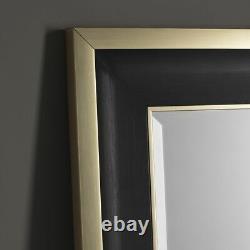 Edmonton Black Frame Gold Edge Overmantle Rectangle Wall Mirror 110.5cm x 80cm