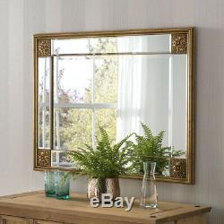 Elegance Distressed Gold Frame Ornate Overmantle Rectangle Wall Mirror 99cmx73cm