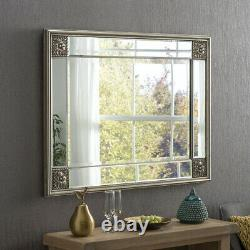 Elegance Distressed Silver Ornate Overmantle Rectangle Wall Mirror 123cm x 99cm