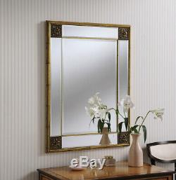 Elegance Gold Frame Ornate Distressed Overmantle Rectangle Wall Mirror 99cmx73cm