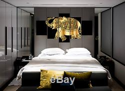 Elephant Animal Ornament Gold Canvas Print Painting Framed Home Decor Wall Art
