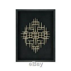 Elk Home Scorch Wall Decor, Black Frame, Linen, Gold Metal Work 3168-052