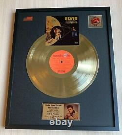 Elvis Presley Aloha From Hawaii 1973 Custom 24k Gold Vinyl Record in Wall Frame