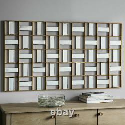 Empire Large Modern Art Deco Geometric Frame Bevelled Wall Mirror 132 x 73.5CM