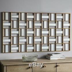 Empire Large Modern Art Deco Geometric Frame Bevelled Wall Mirror 132 x 73.5cm