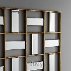 Empire Large Modern Art Deco Geometric Frame Bevelled Wall Mirror 52 x 29