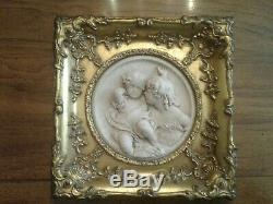 Enrico Braga Marble Relief Wall Plaque In Gilded Gesso Frame 11 1/2 X 11 1/2
