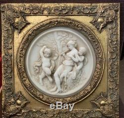 Enrico Braga Style Cherub Angel Carved Circular Wall Plaque Gold Leaf Gilt frame