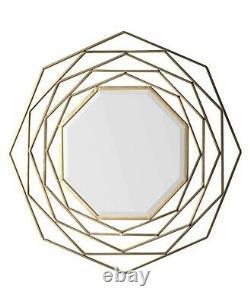 Estella Modern Octagon Unique Design Gold Metal Frame Hanging Wall Mirror 92cm
