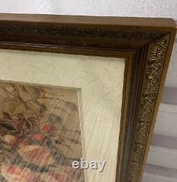 Ethan Allen Framed Wall Art Print 072178A ROSES Gorgeous Gold Tone Frame Floral