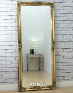 Eton Large Length Antique Gold Shabby Chic Leaner Wall Floor Mirror 157cm X 68cm