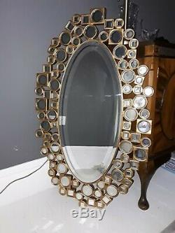 Exceptional Unique Large Gold Gilt Modern Oval Wall Mirror