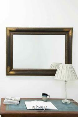 Extra Large Gold/Bronze Frame Wall Mirror Vintage 3ft10 x 2ft10 117 x 86cm