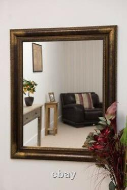 Extra Large Gold/Bronze Frame Wall Mirror Vintage 4Ft2 X 3Ft4 127cm X 102cm
