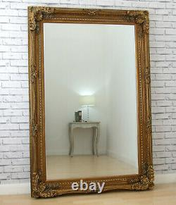 Extra-Large Louis Ornate Carved French Wall Leaner Mirror Gold 178.5cm x 117cm