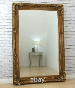 Extra-Large Louis Ornate Carved French Wall Leaner Mirror Gold 70.25 x 46