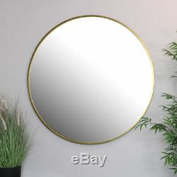 Extra large round gold framed wall mirror vintage Luxe industrial chic display