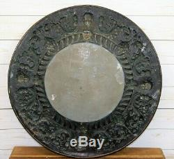 Eye-catching Antique Renaissance Style Round Wall Mirror Repousse Brass Frame