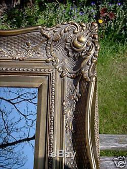 FABULOUS ORNATE WIDE FRAME ANTIQUE GOLD WALL MIRROR 32 x 36 (80cm x 90cm)