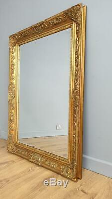 Fabulous! Large Gilt Gold Framed Bevel Edged Mantle Wall Mirror 3'6x2'6