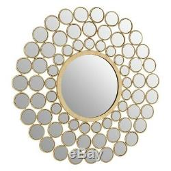 Faiza Solar Circles Wall Mirror Round Gold Metallic Art Deco Metal Hanging New