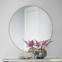 Fitzroy Large Round Modern Mirror Gold Metal Frame Sleek Wall