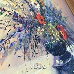 Floral Painting Wild Flowers Signed Lafoye Gold Frame 29 x 20 Vintage Wall Art