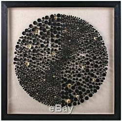 Framed Black Gold Pegs Golf Tees Glass Covered Circular Textured Wall Art 35.5