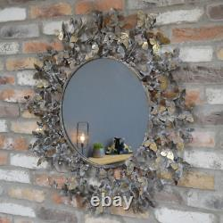 Framed Butterfly Wall Mirror Distressed Gold Metal Décor Round Hanging Art New