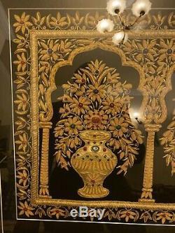 Framed Handmade Wall Hanging Jewelled CarpetArt, Kashmir Zari Gold & Gem Stones