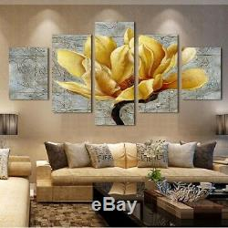 Framed Home Decor Canvas Print Painting Wall Art Gold Orchid Flower