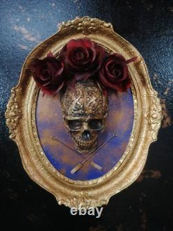 Framed Skull and roses in Vintage (frame 1964.) gothic home décor, wall hanging