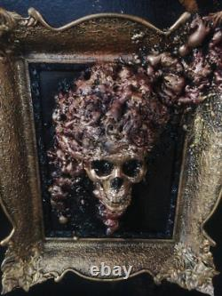 Framed Skull with brain in Vintage frame. Gothic home decor, wall hanging