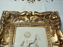 Framed Stone Wall Plaque 3D stone compound resin Angel with Lion golden frame