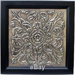 Framed Tin Ceiling Tile Wall Art Traditional Vintage Design