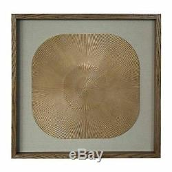Framed wall art, gold / beige linen, square carving