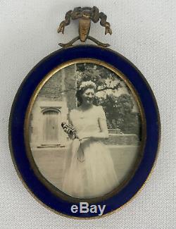 Frank Smythson Bond Street Blue Enamel & Gold Gilt Bow Wall Photo Frame Vintag