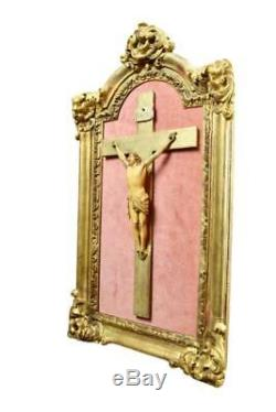 French Antique Religious Hand Carved Gilded Wood Frame Hand Carved Wall Crucif