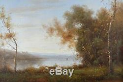 French Country Landscape with Antique Gold Frame, for Living Room Wall Decor