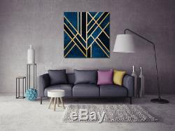 Geometric Blue Gold Stretched Canvas Print Framed Wall Art Home Office Decor DIY