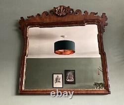 Georgian Wall Mirror Mahogany Fret Frame With Gilded Shell Motif 89cm/43cm