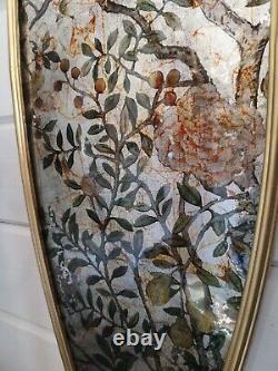 Glass Wall Art Birds Gold Framed Ornate Oval
