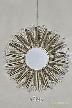 Gold Aged Mirror Sunburst Antique Gold Metal Framed Large Wall 101x101cm DUSX