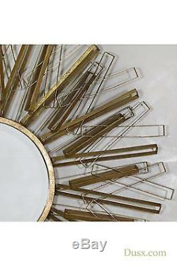 Gold Aged Mirror Sunburst Antique Gold Metal Framed Large Wall 101x101cm DUSX