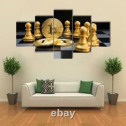 Gold Bitcoin and Chess Board 5 Pcs Canvas Wall Art Painting Home Decor Cuadros