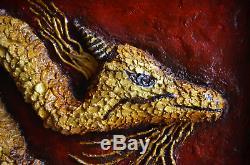 Gold Dragon painting Dragon Artwork Dragon Bas Relief wall art Wall sculpture