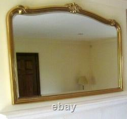 Gold Framed Wall Mirror Large 52 X 39 Ornate Overmantle Rectangular Arch