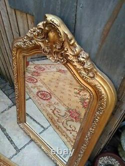 Gold Gilt French Louis Vintage Antique Ornate Crest OVERMANTEL Wall Frame Mirror