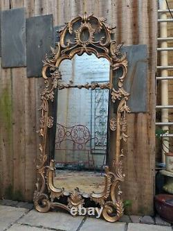 Gold Gilt French Louis Vintage Antique Style Ornate OVERMANTEL Wall Frame Mirror