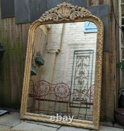 Gold Gilt Wood French Louis Vintage Antique Ornate OVERMANTEL Tall Wall Mirror
